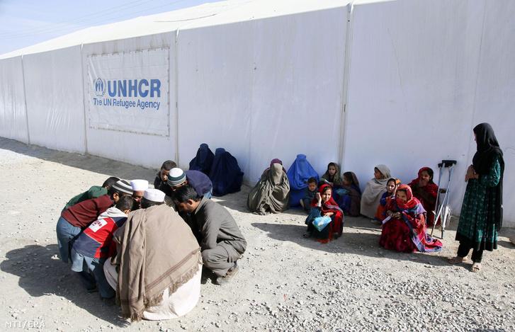 Menekültek az ENSZ Menekültügyi Főbiztosságának (UNHCR) kabuli táborában 2016. november 8-án.