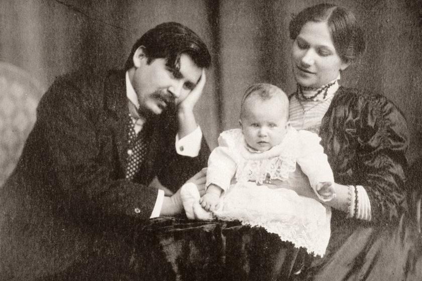Móricz Zsigmond, felesége, Holics Janka és kislányuk, Virág