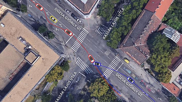 A Google maps műholdképén a baleset helyszíne látható. Megpróbáltuk elhelyezni rajta a Mercedest (piros keretű autó) a baleset előtt és az ütközés pillanatában, valamint felvázolni, hogy milyen utat járhatott be a belső sávban haladó, sárga kerettel jelölt BMW-hez képest, mielőtt megérkezett az ütközési ponthoz. A Citroent kék kerettel különböztettük meg. Az első képen még várakozik a kanyarodásra, a másodikon pedig körülbelül abban a helyzetben látható, ahol összeütközött a M. Richárd Mercedesével. Érdemes megnézni, milyen nagy a távolság a két autó találkozási helye és a trolibusz-megálló közt, ahová az ütközést követően becsapódtak. Ennél pontosabb, méréseken alapuló ábra csak az igazságügyi szakértő jelentésében lehet, amelynek tartalma egyelőre titkos