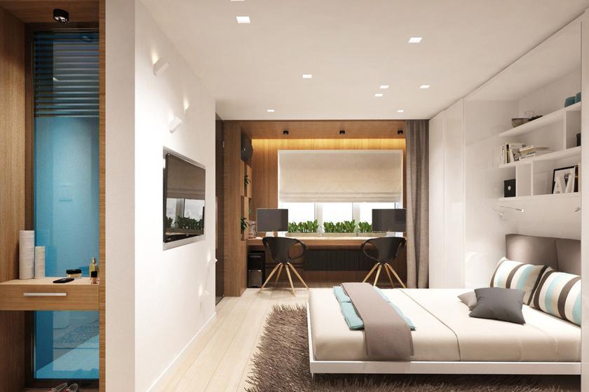 Az egyetlen szoba egyszerre jelenti a hálót és a nappalit. Az ágy felemelve a falba illeszthető, így a vendégek is elférnek.