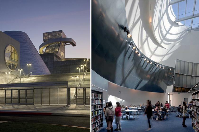 Kaliforniában már-már futurisztikus épületben tanulhatnak a művészeti gimnázium tanulói: az épületet letisztult egyszerűség jellemzi, ám a bravúros építészeti megoldások egyedi környezetet teremtenek.
