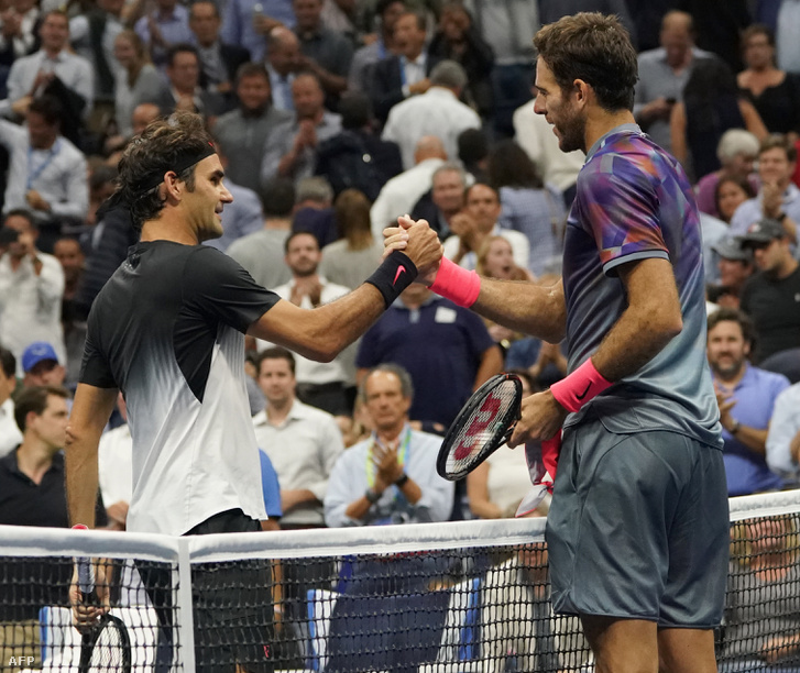 Juan Martin del Potro és Roger Federer a mérkőzés után