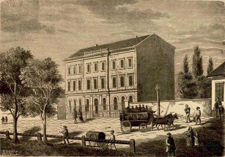 A pesti skót missió iskolája 1870-ben. Az épület hasonló a ma is állóhoz, de annál egy emelettel kisebb