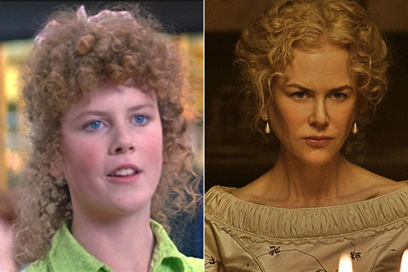 Így nézett ki Nicole Kidman 16 évesen, bongyor hajjal, plasztika nélkül a BMX banditák forgatásán, a másik kép pedig legújabb filmjéből, a Csábításból való - ezen már ötvenéves.