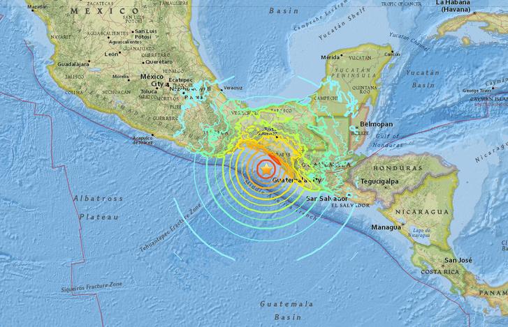 Az Amerikai Földtani Intézet vizualizációja a földrengés helyéről