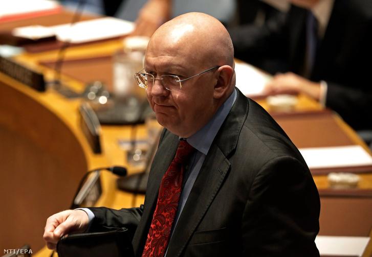 Vaszilij Nyebenzja orosz ENSZ-nagykövet az ENSZ Biztonsági Tanácsának az észak-koreai válságról tartott rendkívüli ülésén New Yorkban 2017. szeptember 4-én.