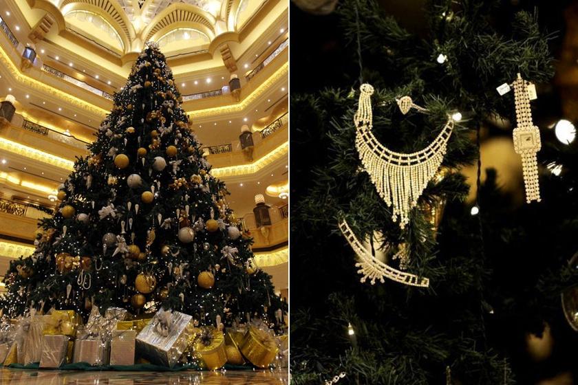 A világ legdrágábban - arany- és ezüstékszerekkel - feldíszített karácsonyfája mintegy 11 millió dollárba került. A fenyőt az Emirates Palace Abu Dhabi előcsarnokában állították 2010-ben.