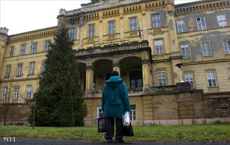 Egy beteg a lakat alá került a lipótmezei Országos Pszichiátriai és Neurológiai Intézet előtt 2008 februárjában (Fotó: Kollányi Péter)
