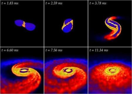 Két neutroncsillag összeolvadását mutató szimuláció néhány fázisa. A folyamat eredményeként a legérzékenyebb műszerekkel már valószínűleg detektálható gravitációs hullámok keletkeznek.