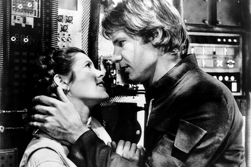 Harrison Ford és Carrie Fisher a Star Wars forgatása idején