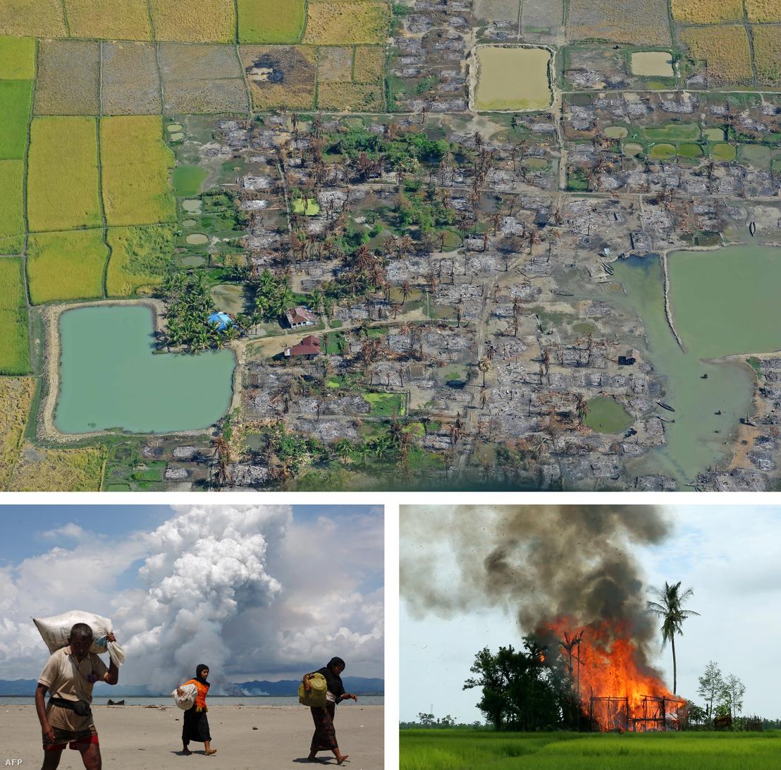 Légi fotó egy felgyújtott rohingya faluról Rakhine államban (2012.), Lent: Menetelő rohingja menekültek a bangladesi határ közelében.