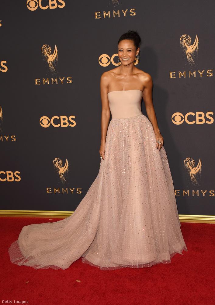 Ezen a képen pedig egy másik angol színésznő, Thandie Newton mutatja meg, hogyan kell rózsaszínben megközelíteni a perfekciót.