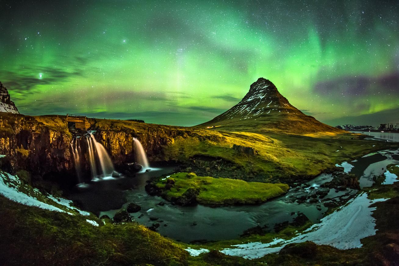 1-Aurora borealis at Mount Kirkjufell Iceland
