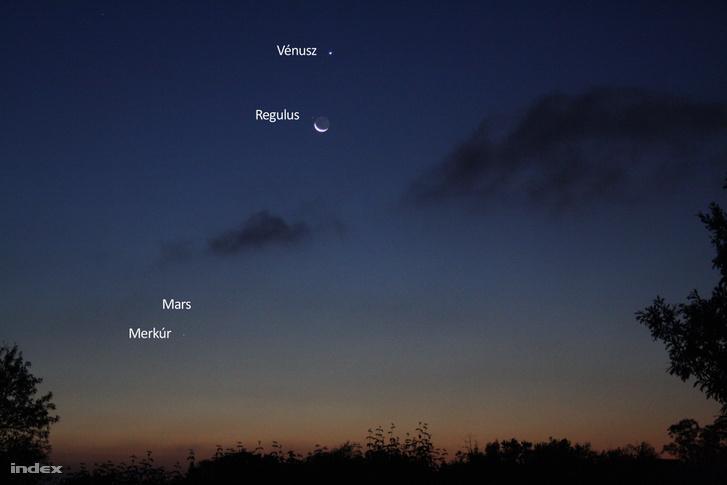 Szentendréről készült a kép, amin semmi kozmetikázás nincs! A készítés adatai: hajnali 04:35, Canon 1000D, 3 sec, f/5,6, ISO800. Puszta szemmel a Merkúr is jól látszott (a Vénusz-Hold-Regulus alatt), a Mars már nem.