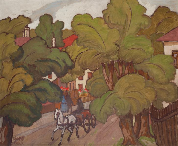 Kádár Béla (1877-1956)Falusi utca lovaskocsival