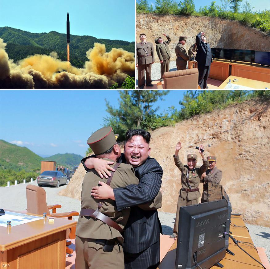 A központi hírügynökség által, 2017. július 4-én kiadott felvételen Kim Dzsongun észak-koreai vezető a Hwasong-14 interkontinentális ballisztikus rakéta sikeres kilövésén