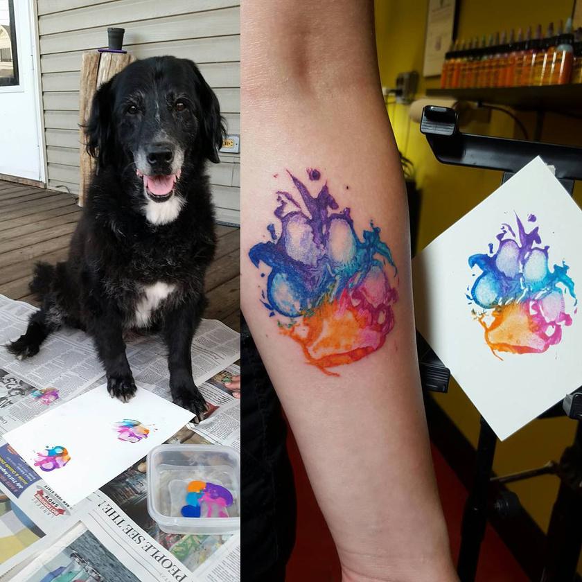 Skunky, az öreg kutyus tappancsát színes vízfestékkel maszatolták papírra, így az eredmény bájos lett.
