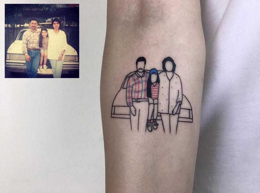 híres tetoválás fotók előtt és utáng