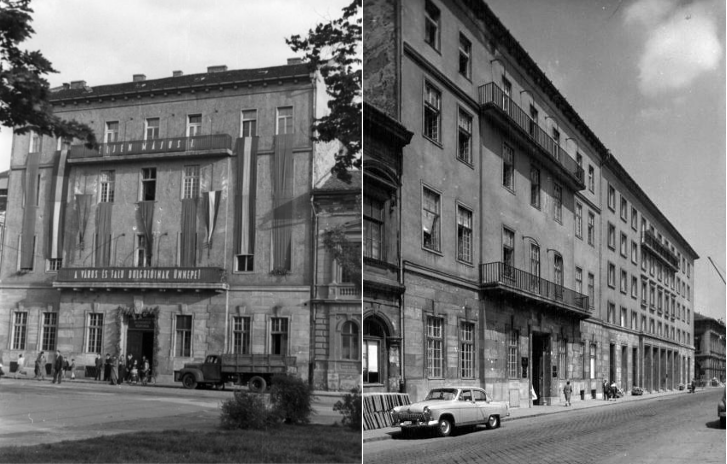 A baloldali képen az MKP székháza 1946 május elsején. Akkoriban még csak egy kétszintes épület volt a szomszédja. A jobboldali fotón az MSZMP Budapesti Bizottságának székháza 1969-ben. Jól látszik, hogy a négyemeletes pártházat a háromemeletes szomszédhoz igazították (párkánymagasság, erkélyek elhelyezése, földszinti traktus)