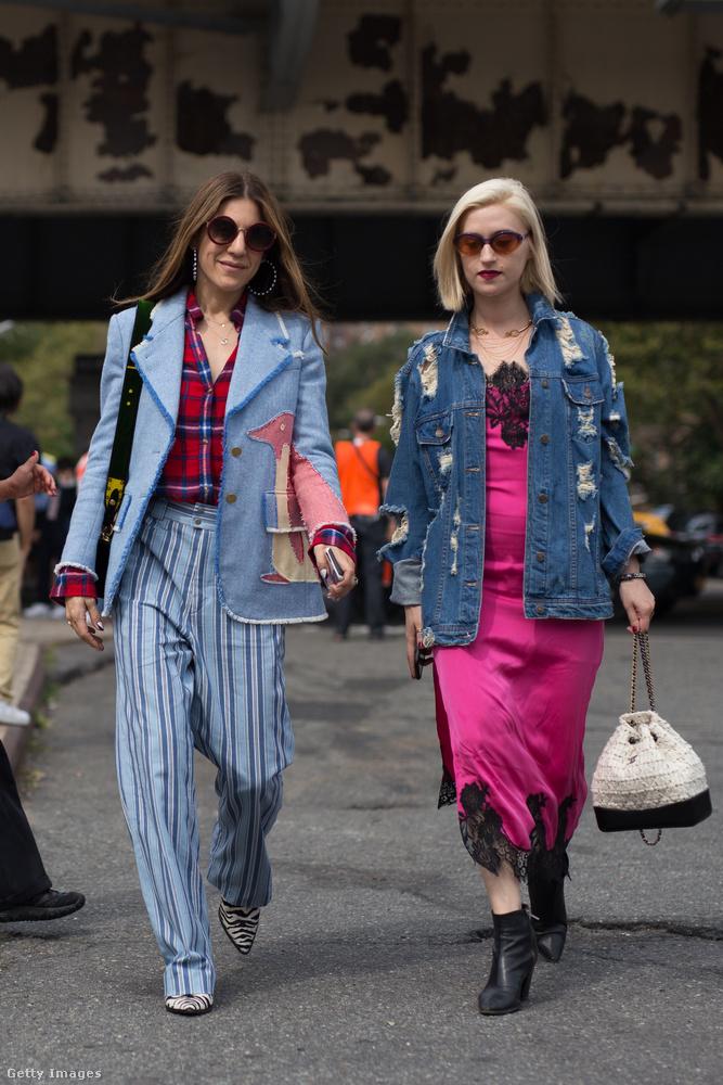 New Yorkban menő a kombinéruha farmerdzsekivel, valamint a csíkos nadrág kockás blúzzal
