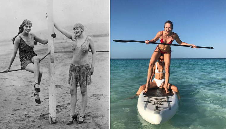 Két fürdőruha 1926-ban.Két bikini 2017-ben, Mihalik Enikő egyensúlyával.