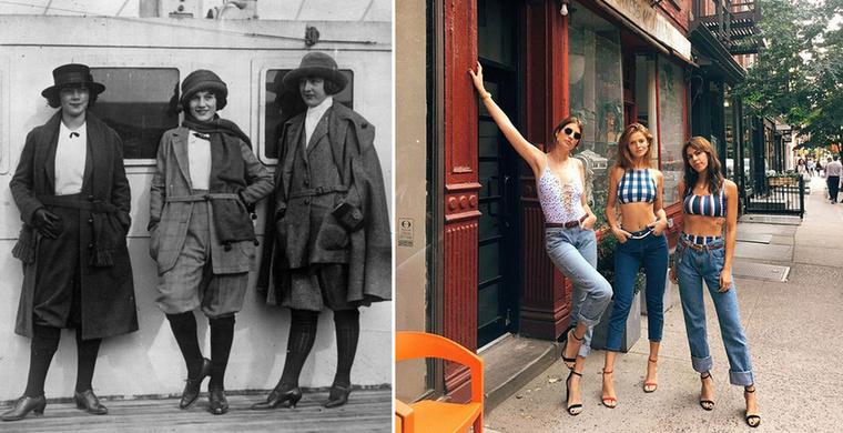 A huszadik század eleji manökenek még némileg máshogy reklámoztak és máshogy pózoltak a fotókon, mint a mai modellek.Ezen az 1925-ös fotón egy kabátreklámot láthatunk, míg a másikon Cintia Dicker brazil modell pózol barátnőivel.