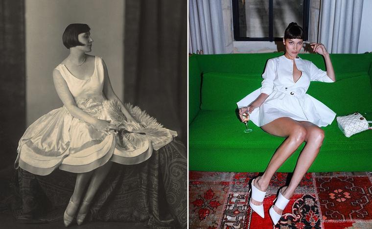 Térdig érő szoknya lerövidült mialatt 1920-ból Bella Hadidig ért.