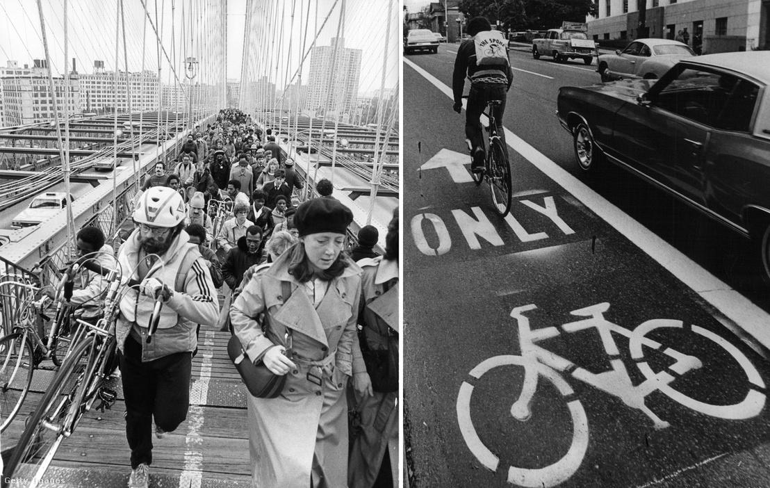 1980. New York City ingázói a Brooklyn hídon / 1972. Bringasáv Denverben a 16. sugárúton