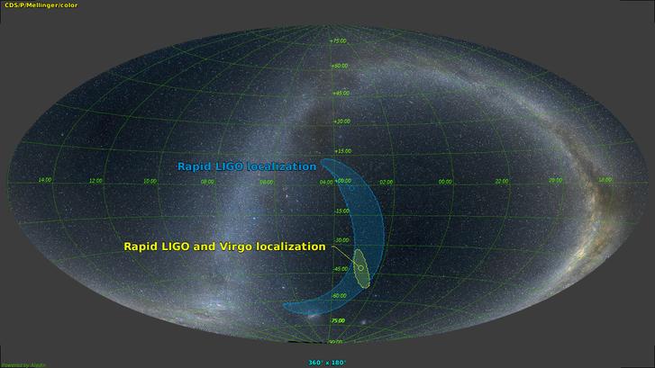 A Virgo segítségével jóval pontosabban lokalizálható az észlelt jel forrása.