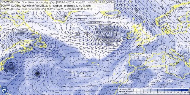 A tengerszinti légnyomás és a 700 hPa nyomásszint specifikus nedvesség előrejelzése 2017. 09. 28. 12 UTC-re (csütörtök délre) az ECMWF szerint. Megfigyelhető a USA partjainak közelében forgó Mária és a tőle keletre lévő Lee nevű hurrikán.