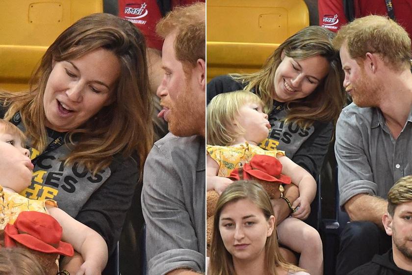 Harry herceg nem bírta ki, hogy ne vágjon vicces pofákat a kislánynak, aki szintén a nyelvét nyújtotta a trónörökösre.