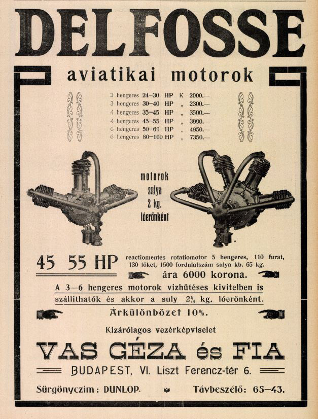 Vas Géza és fia cég reklémja - Az Automobil 1910. október.16.