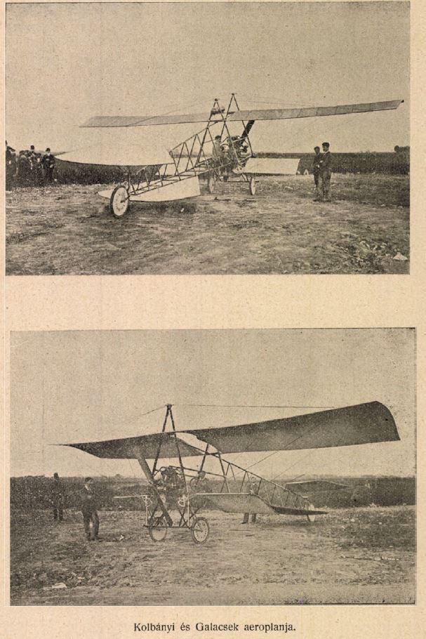 Kolbányi Géza első repülőgépe, a saját fejlesztésű Kolbányi-Galcsek motorral - Az Automobil 1910 október 16
