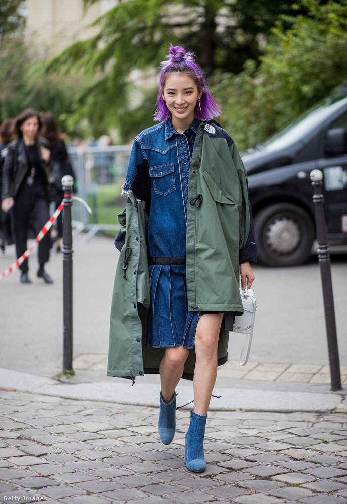 North Face x Sacai féle kabát és farmercucc Párizsban.