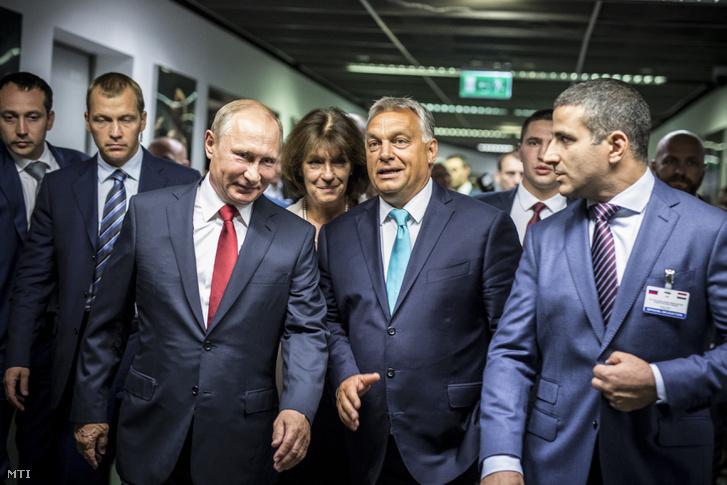 Vlagyimir Putyin és Orbán Viktor Budapesten, 2017. augusztus 28-án
