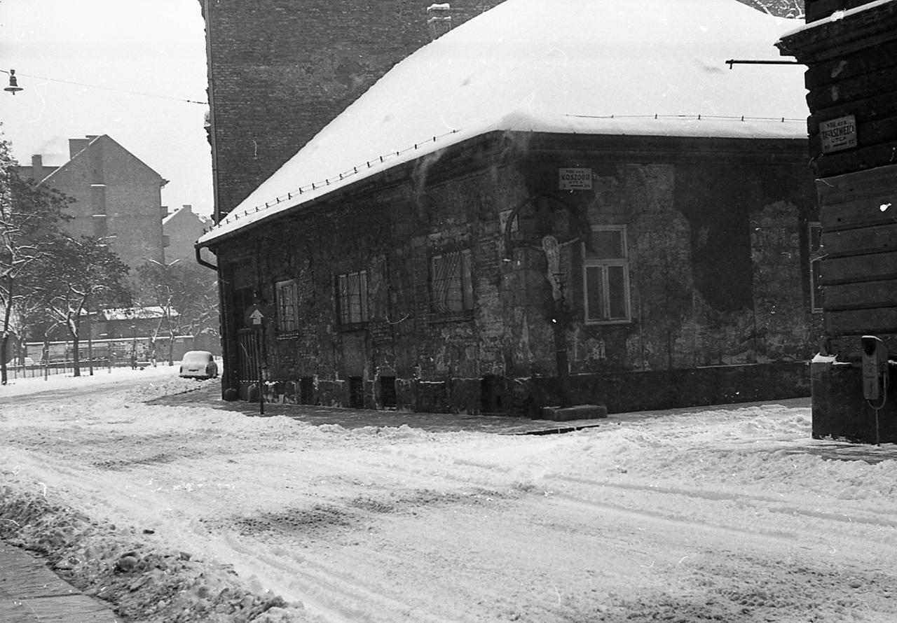 """A Tavaszmező és a Koszorú utca sarkán ma is álló pléh feszület feltűnik a Danaida című regényben, noha Szabó Magda a környék utcaneveit átírva hozta létre a regény valóságát. A már emlegetett Csándy Katalin Podmaniczy utcából a Józsefvárosba költözik. """"A Mák utcát mindig szerette [...]. Ezen a részen még jól látszott, hogy a főváros külön kis helységek egybeolvadásából keletkezett, hogy ez a kerület is miniatűr vidéki városka volt valamikor, aztán egy óriás test részévé vált. Szerette a Mák utcán a régi malom épületét, amelyből nemrég fürdőt csináltak, de amely ebben a formájában is olyan volt, mintha kísértetek őrölnének benne éjszakánként a régen tovaszállított gépeken álombeli lisztet, valószínűtlen, meseszerű. Szerette a Koszorú közt is, ahol csaknem kizárólag cigányok éltek, a Mák utca és a Koszorú köz sarkán a Krisztust, akit akkor, 1953-ban ugyan senki sem aranyozott vagy festett újra, s inkább formájával mutatta: azonos önmagával, de akit azért mégis megtisztelt valaki hébe-hóba pár szál virággal vagy gyertyácskával, olykor egy csúnya kis koszorúval is. Itt hiába dolgozott az utcaseprő, mindig szenny volt, zaj, nyüzsgés, még kiskertek is illatoztak nyaranta itt felejtett, régi telkeken, amelyekben rengeteg virág nyílt; egyik-másik lakó kosárszámra vitte a friss csokrokat árulni a trolimegálló környékére, a hajdani önálló városka főutcájából lett nagyútra."""""""