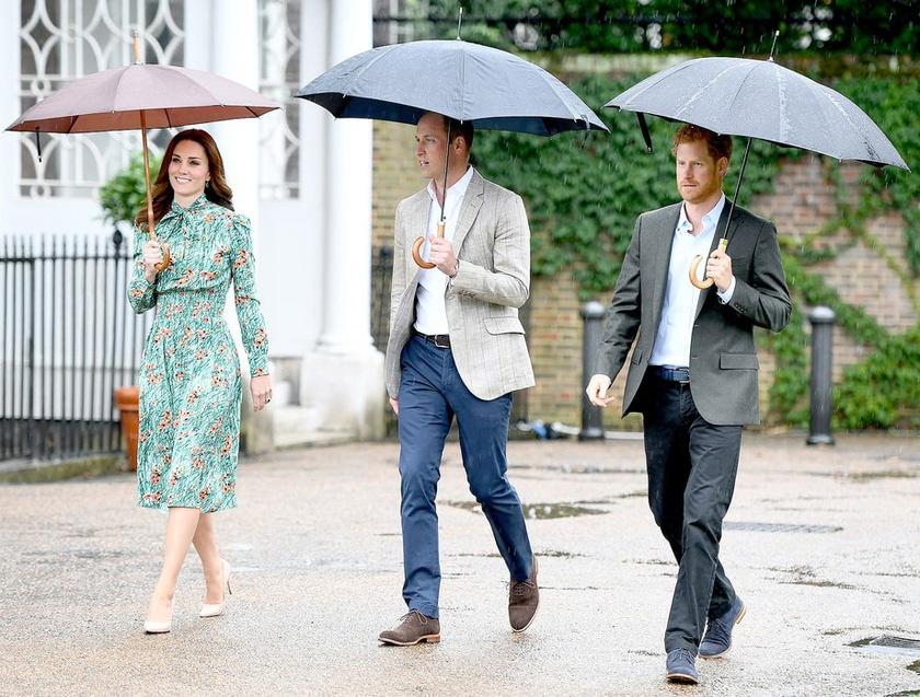 Megnyílt a Diana-kert a Kensington-palotában: Vilmos, Harry és Katalin együtt rótták le tiszteletüket az elhunyt hercegnő halálának huszadik évfordulóján.