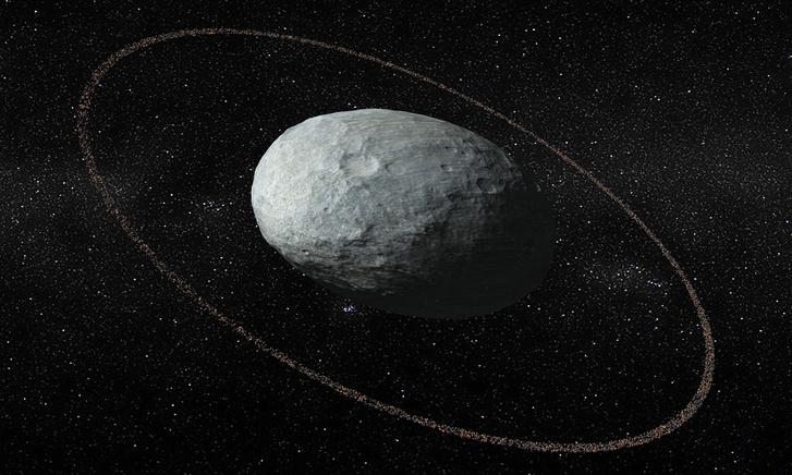 Illusztráció a Haumea törpebolygóról és gyűrűiről.