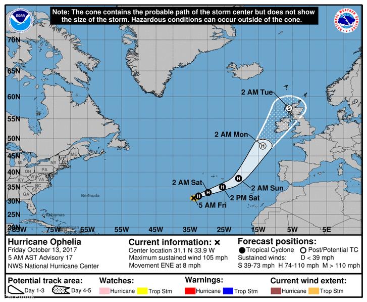 Az Ophelia hurrikán várható útvonala
