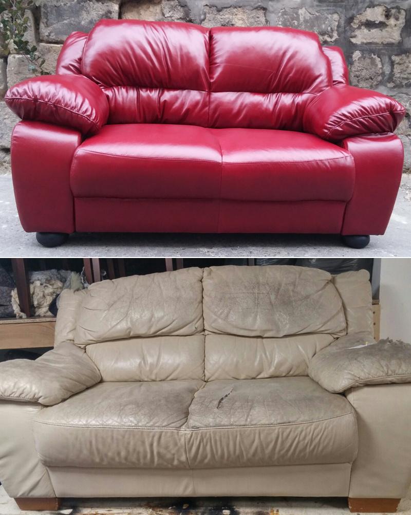A műbőr kanapék nagyon könnyen megsérülnek, sok ilyen munkát bíznak Csabára. De az antik székektől kezdve a modern forgószékekig mindenféle bútor érkezik a műhelybe.