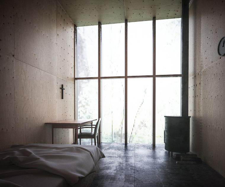 """""""A szerzetesi cellák kialakításánál különösen fontosnak éreztük, hogy a szoba kétfelé tudjon kommunikálni...Ezt a szobasort egy iroda és egy könyvtár zárja le a két végén...Ezt a használati formát erősítve, minden szobát vaskályhával láttunk el, ami egyéni fűtést tesz lehetővé, illetve lapos tetején egyszerűbb ételeket készíthetnek, melegíthetnek"""