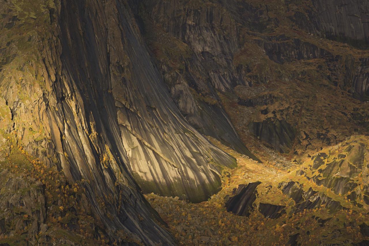 Az élet szőnyege - Hamnoy falu környéke a Lofoten-szigeten, Norvégiában. A hegyek itt meredeken emelkednek ki, közvetlenül a tengerből. Több száz méter magas, helyenként sűrű növényzettel benőtt sziklafalak magasodnak a víz partján.
