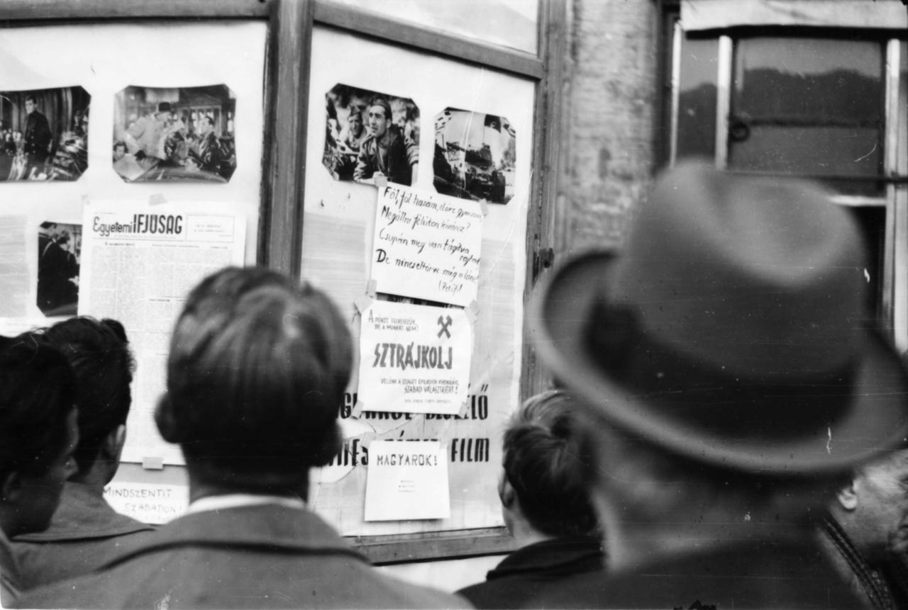 """A korra jellemző üveg hirdetőoszlop. A mozihirdetések között, ha jól sejtjük, egy  keletnémet film, a Reichstag felgyújtásáról szóló Ördögi kör plakátja lenne látható, ha nem lenne átragasztva röplapokkal és az Egyetemi Újság friss számával. A kézzel írt buzdítások között van lelkesítő Petőfi-strófa, sztrájkfelhívás """"a szovjet gyilkosok kivonásáért, a szabad választásokért"""", valamint egy rossz helyesírású követelés a hercegprímásért: """"Mindszentit (...) szabadon!"""""""