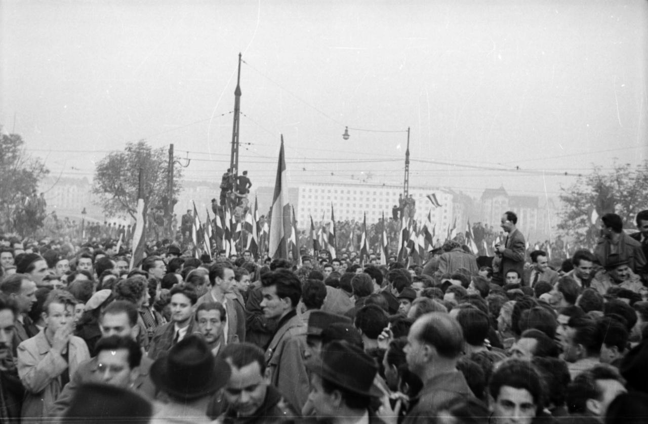 Várakozók tömege a Bem téren, háttérben a pesti oldalon a Fehér Ház, a hajdani ÁVH és a későbbi pártközpont épülete. Faragó György 1956-ban 26 éves volt, és a hadsereg egyik hivatalos fotósa. Sorkatonaként lett fotográfus, dolgozott a Néphadsereg újságjának, és a leszerelés után is a katonaságnál maradt, mert, mint ott jobban fizettek, mint a polgári szakmákban. '56-ban a Zrínyi Miklós Katonai Akadémián dolgozott, többek között hírszerzőknek tanította a fényképezés alapjait.