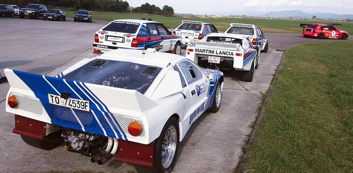 """Lancia versenyautók a teljesség igénye nélkül: 037, Beta Montecarlo, """"Safari"""" és """"A"""" gruppe Delták, valamint Felix. Az S4 később érkezett"""