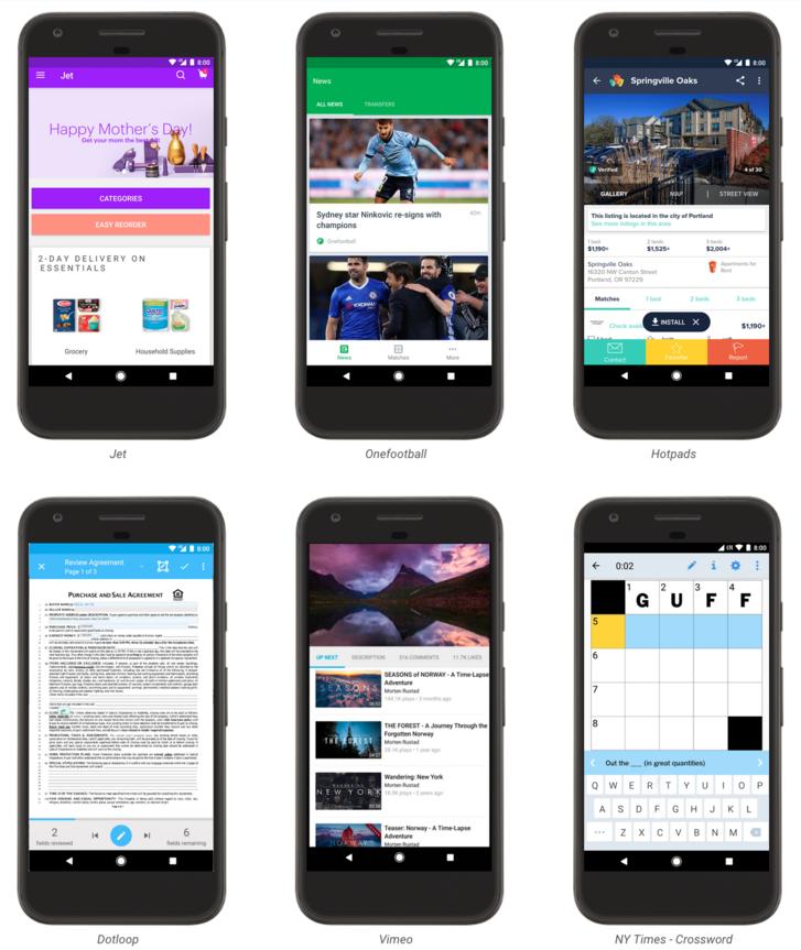 Néhány alkalmazás a Google Instant Apps oldaláról