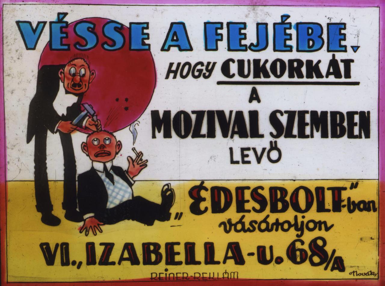 Nem sokkal az első világháborút követően nyílt meg az Orient mozi az Izabella és Aradi utca sarkán, ahol ezt a kissé ízléstelen reklámot is vetítették. Neve a mozik háború alatti névmagyarosítási hullámában a Körönd nevet kapta, igaz nem sokkal később már magát a Köröndöt is átnevezték Hitler térre. A filmszínház a háború végén megszűnt, csoda, hogy ez a reklámdia fennmaradt.