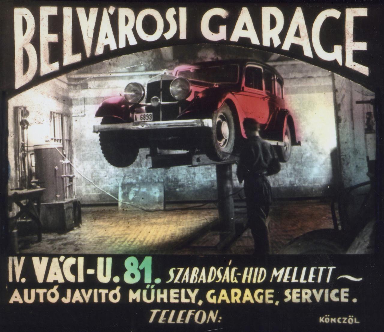 Közvetlenül a Fővám térről lehetett behajtani abba az autójavító műhelybe, amelynek ez volt a reklámja nem sokkal a háború után. Az egykori címen ma újépítésű bevásárlóközpont magasodik, talán már senki sem tudja, hogy egykor teljesen más szolgáltatást végeztek ezen a helyen. A koalíciós években készült reklám gyártója Tordáék nagy konkurense, Könczöl Antal belvárosi fényképész-grafikus volt.