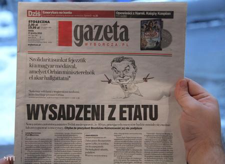 A Gazety Wyborcza lengyel napilap cimlapja