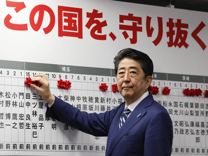 Abe Sindzó japán miniszterelnök, a Liberális Demokrata Párt elnöke vörös rózsát tesz pártja győztes jelöltjeinek neve mellé az előrehozott parlamenti választásokon Tokióban